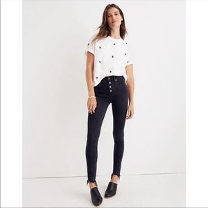 "Madewell 9"" High Rise Black Skinny Jeans"